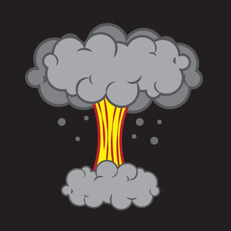 powerful volcano: Cartoon explosion with mushroom cloud