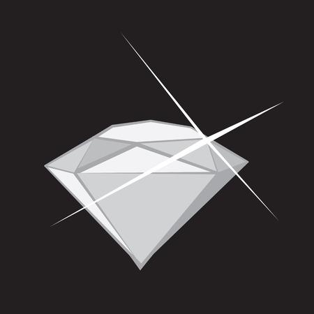 Large cartoon diamond shining sparkle