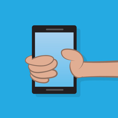 Hand holding a cell phone Illustration