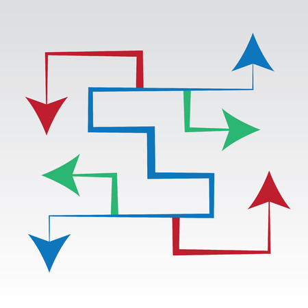 Arrows maze pointing in all directions Vectores
