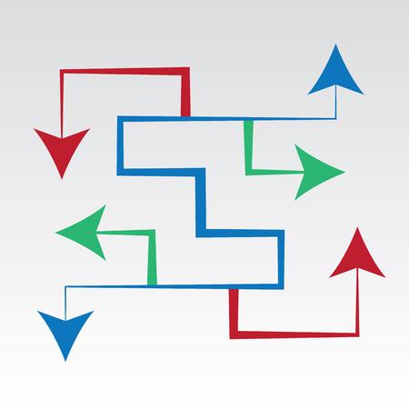Pijlen doolhof wijzen in alle richtingen Stock Illustratie