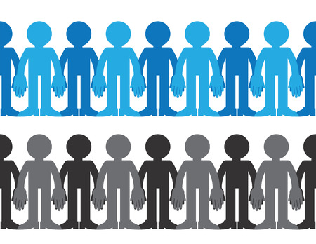 acceptance: Figures holding hands in black and white and blue Illustration