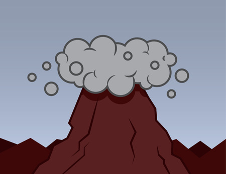 erupt: Volcano with smoke surrounding the top Illustration