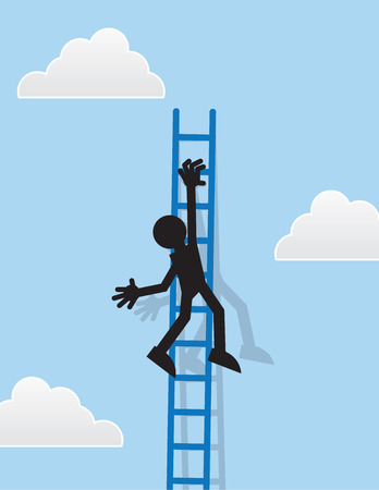 Silhouette figure hanging from a ladder Illustration