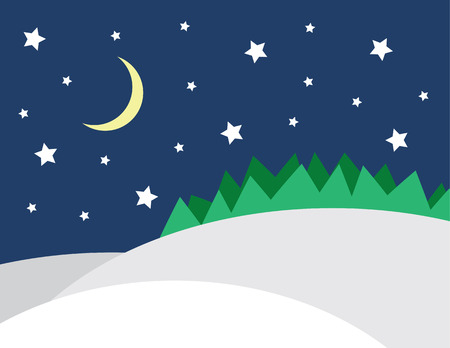 Winter scene with stars and forrest Illustration