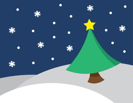 rural scene: Winter scene snowing with star on top of christmas tree Illustration