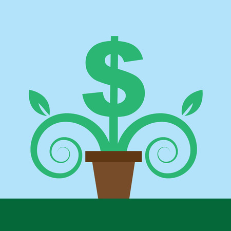 abundance: Dollar sign as a potted plant