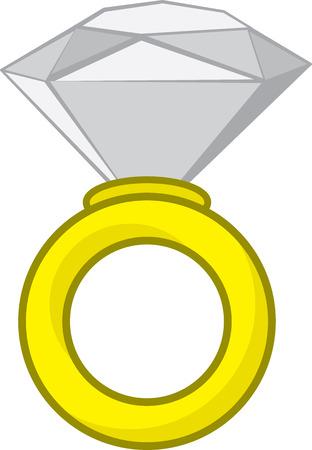 Large isolated diamond ring cartoon