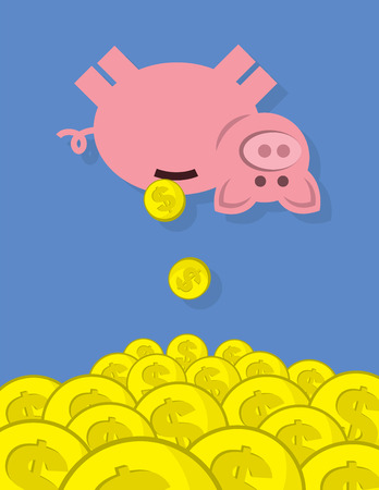 Piggy bank with coins falling into large pile Çizim