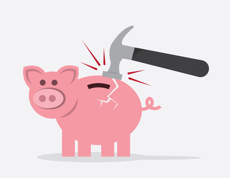 Piggy bank hit by hammer with crack