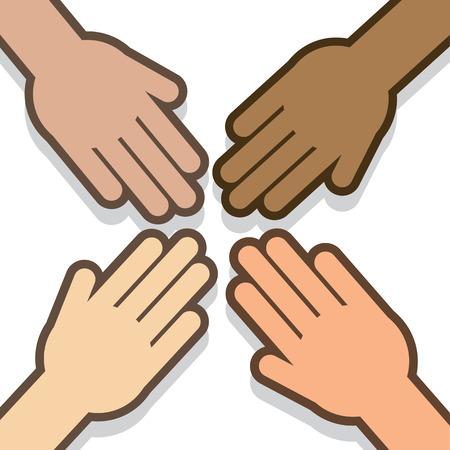 Quatre mains tendues tout dans Banque d'images - 34678942