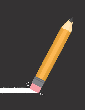 middle school: Pencil erasing through dark background