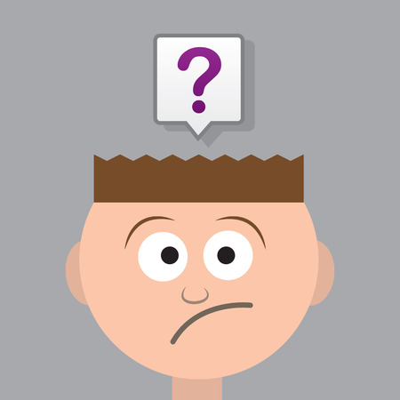skeptical: Head with large question mark