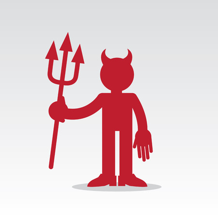 devil: Red devil figure with horns and pitchfork