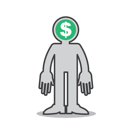 Figure with money on the mind Vector