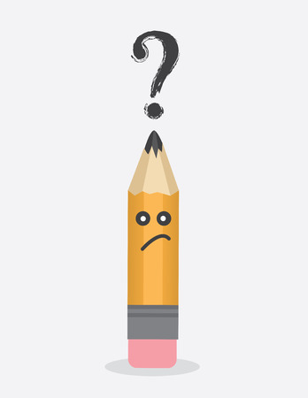 above head: Pencil character with question mark above head