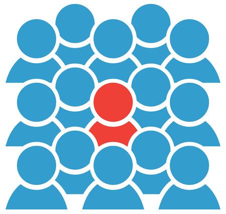 Groep icoon blauw cijfers met een rode