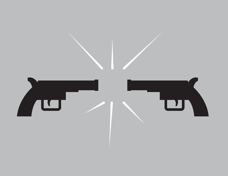 mugging: Two guns in silhouette pointing at each other Illustration