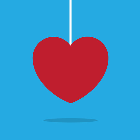 Heart hanging on a string Ilustrace