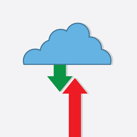 Digital cloud with download, upload arrows Ilustração