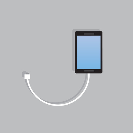 cell charger: Phone with connected charging cord Illustration