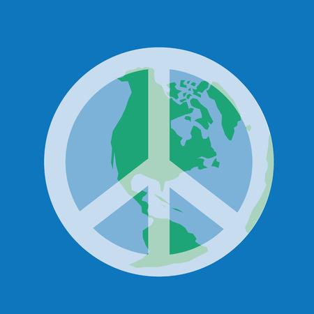 Aarde met transparante vredessymbool