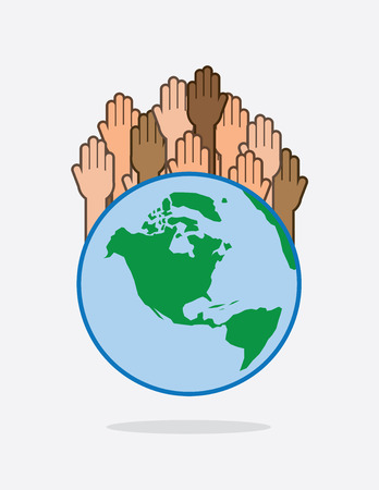Earth with various hands raised