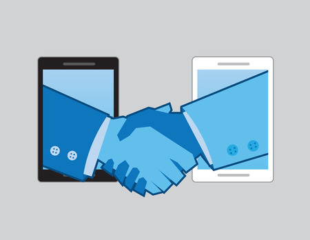 hands shaking: Two phones with hands shaking one another