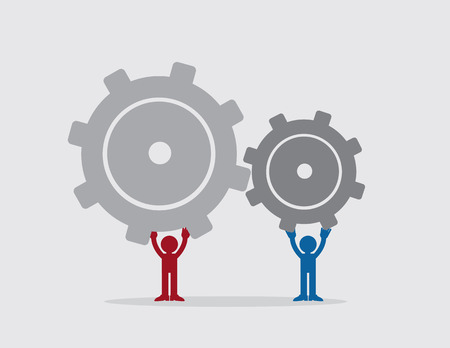 interlock: Two figures putting together large gears Illustration