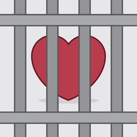 behind bars: Red heart behind metal bars Illustration