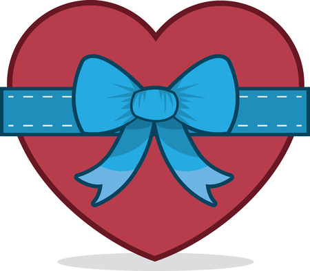 blue bow: Heart with large blue bow