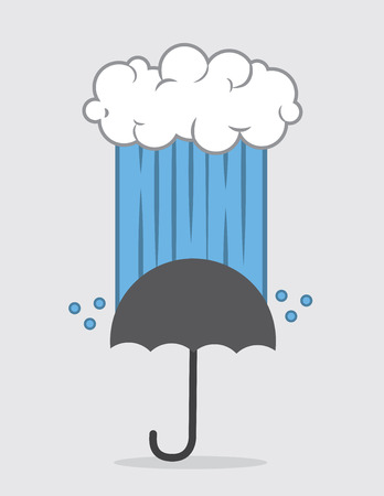 onto: Cloud down pouring rain onto umbrella Illustration