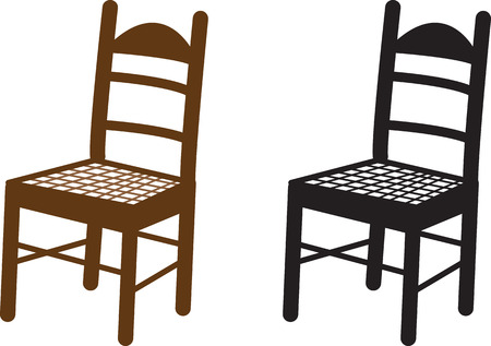 Wooden chair in brown and black silhouette