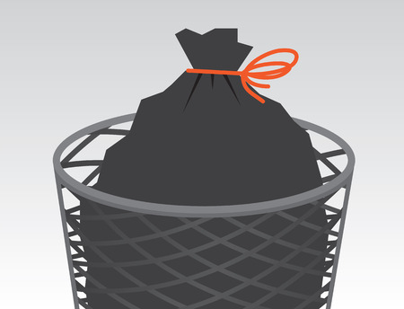 garbage bag: Garbage bag in wire can tied up