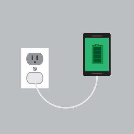 cell charger: Phone connected and charging to wall plug