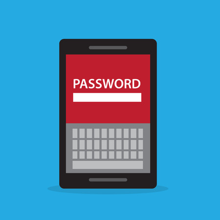 Phone password screen with onscreen keyboard Vector