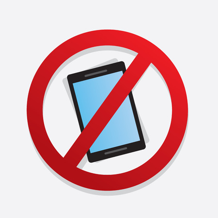 no cell phone: Red no cell phone symbol