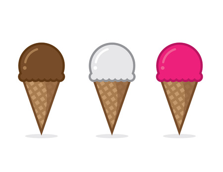 Ice cream cone flavors chocolate vanilla and strawberry Иллюстрация