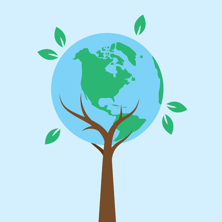 international recycle symbol: Tree supporting earth with branches and leaves