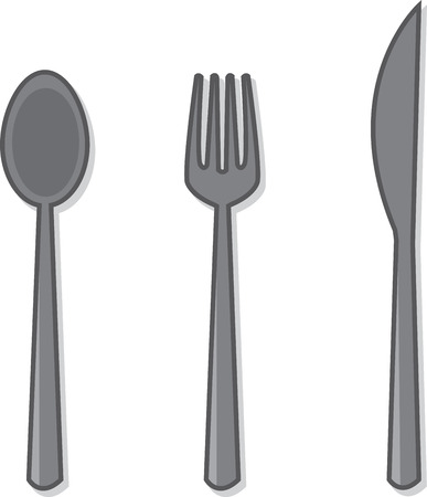 Isolated silverware spoon fork and knife Illustration