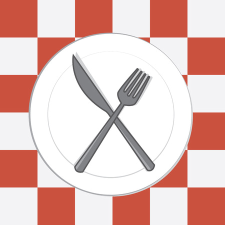Fork and knife on top of plate and tablecloth Illustration