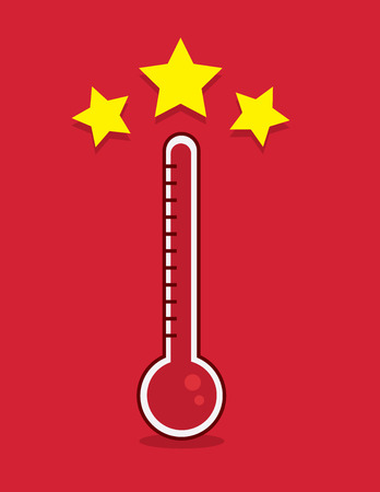Red thermometer filled up with goal met Illustration