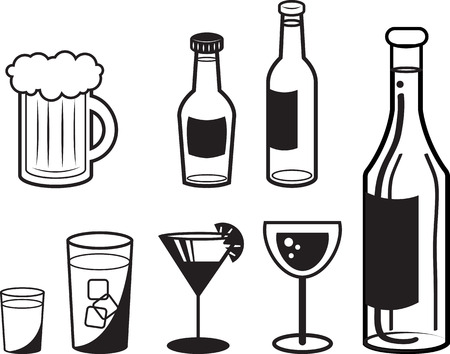 alcoholic drink: Various alcoholic drink outlines in black and white