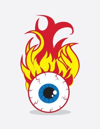 Single eyeball on fire in flames 向量圖像