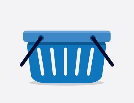 Empty cartoon blue shopping basket
