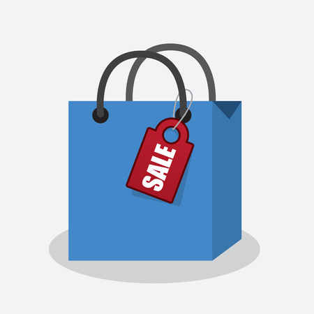 Blue shopping bag with attached sale tag 矢量图像
