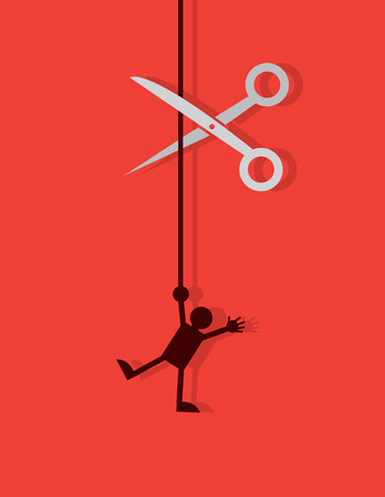 Figure hanging by a string about to be cut by scissors Illustration