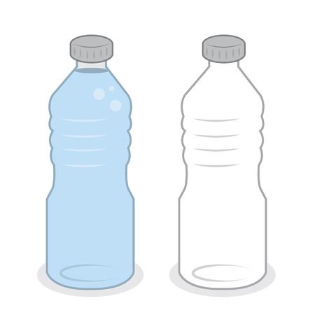 recycle symbol vector: Isolated water bottle empty and full