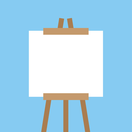 Wooden easel with blank canvas 向量圖像
