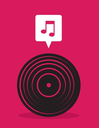 음악 참고 거품이있는 비닐 레코드 아이콘